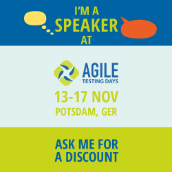 I'm a speaker at the Agile Testing Days 2017. Ask me for a discount code.